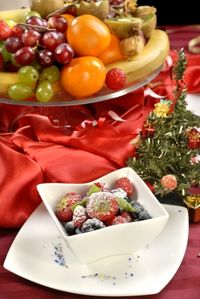 Christmas table fruit decor