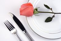 Table setting with rose